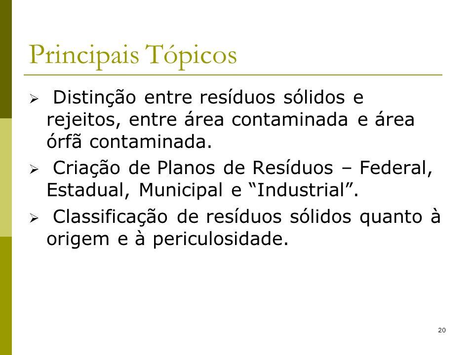 Principais Tópicos Distinção entre resíduos sólidos e rejeitos, entre área contaminada e área órfã contaminada.