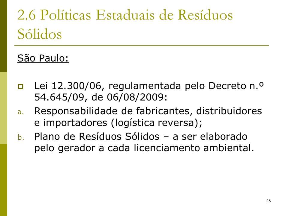 2.6 Políticas Estaduais de Resíduos Sólidos