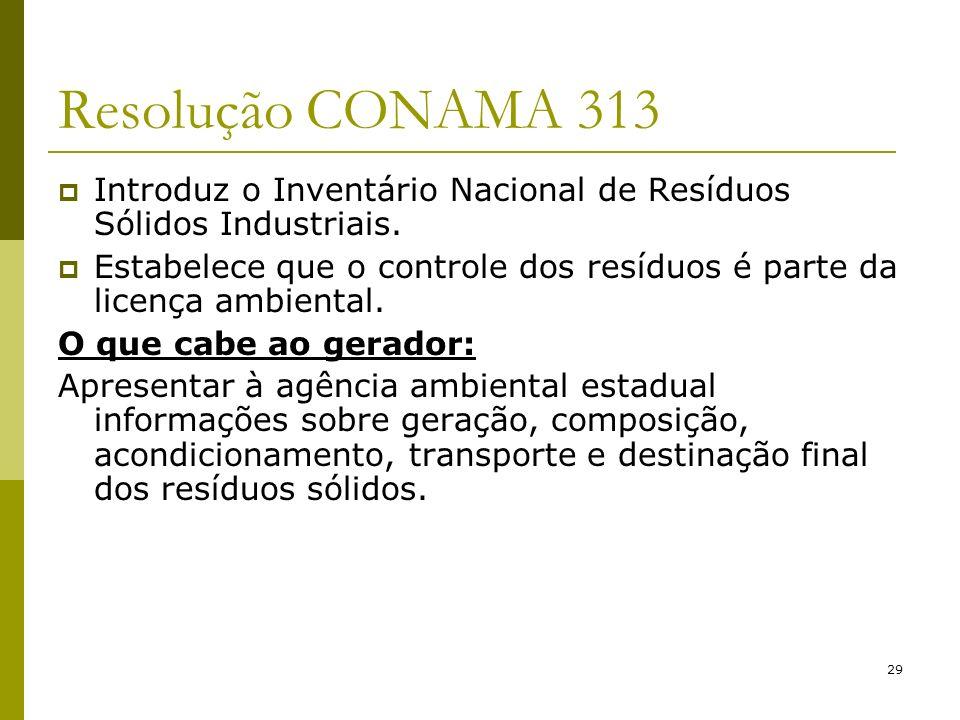 Resolução CONAMA 313 Introduz o Inventário Nacional de Resíduos Sólidos Industriais.