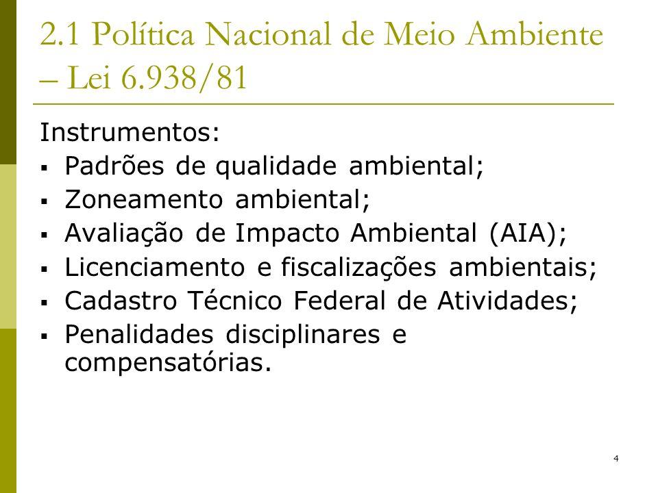 2.1 Política Nacional de Meio Ambiente – Lei 6.938/81