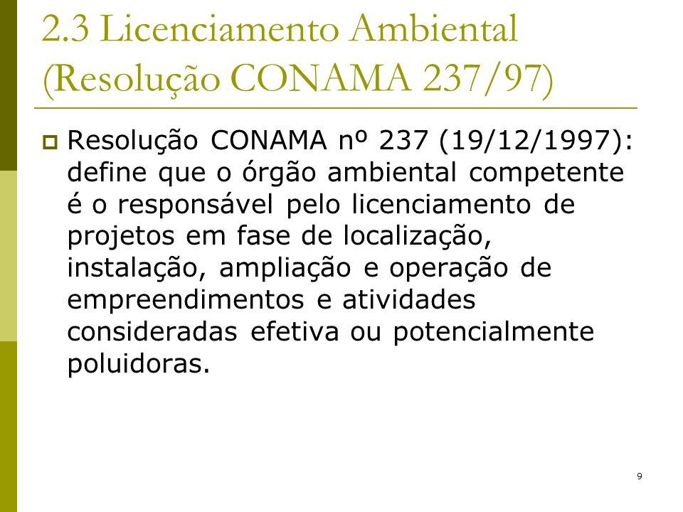 2.3 Licenciamento Ambiental (Resolução CONAMA 237/97)