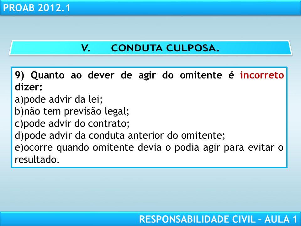 V. CONDUTA CULPOSA. 9) Quanto ao dever de agir do omitente é incorreto dizer: pode advir da lei; não tem previsão legal;