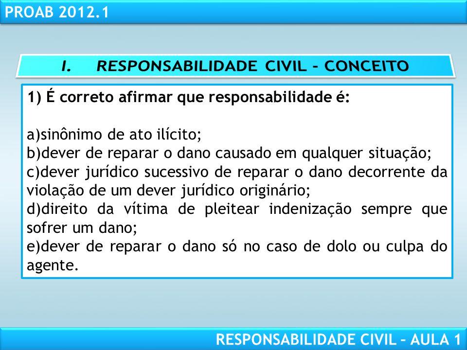I. RESPONSABILIDADE CIVIL - CONCEITO