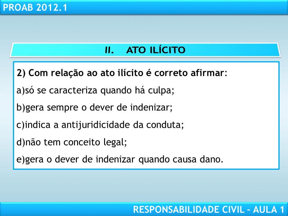 II. ATO ILÍCITO 2) Com relação ao ato ilícito é correto afirmar: