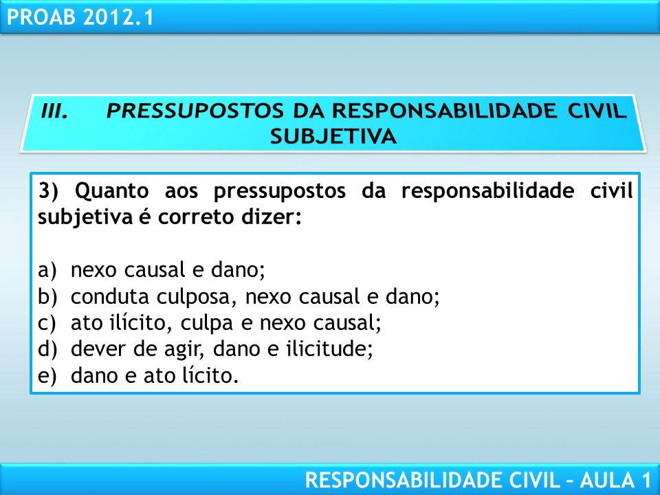III. PRESSUPOSTOS DA RESPONSABILIDADE CIVIL SUBJETIVA