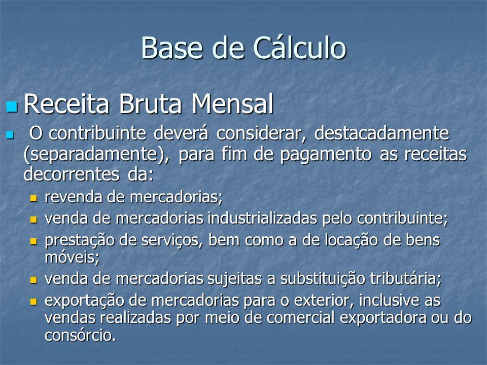 Base de Cálculo Receita Bruta Mensal