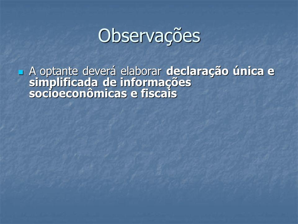 Observações A optante deverá elaborar declaração única e simplificada de informações socioeconômicas e fiscais.