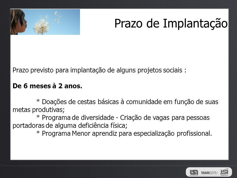 Prazo de Implantação Prazo previsto para implantação de alguns projetos sociais : De 6 meses à 2 anos.