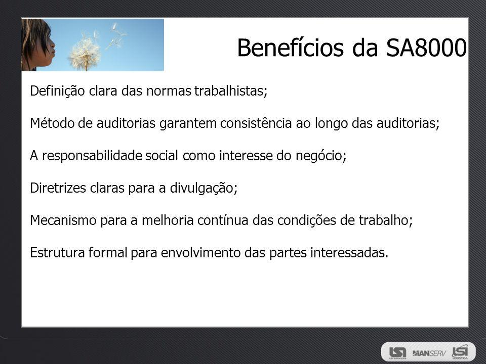 Benefícios da SA8000 Definição clara das normas trabalhistas;