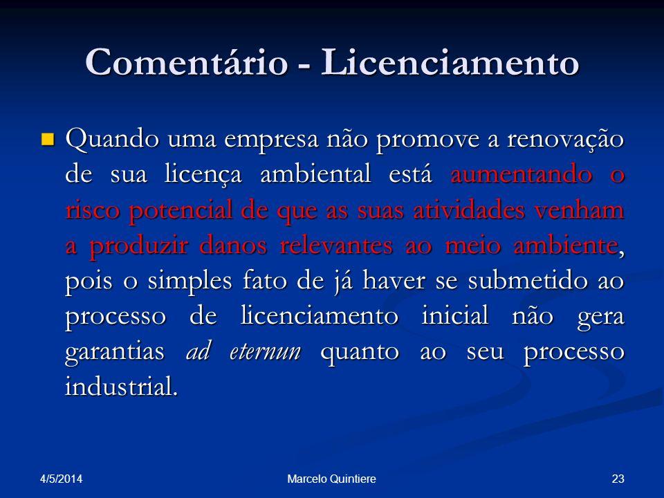 Comentário - Licenciamento