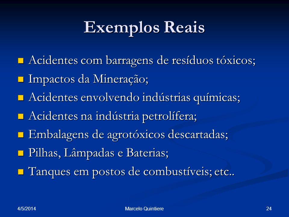 Exemplos Reais Acidentes com barragens de resíduos tóxicos;