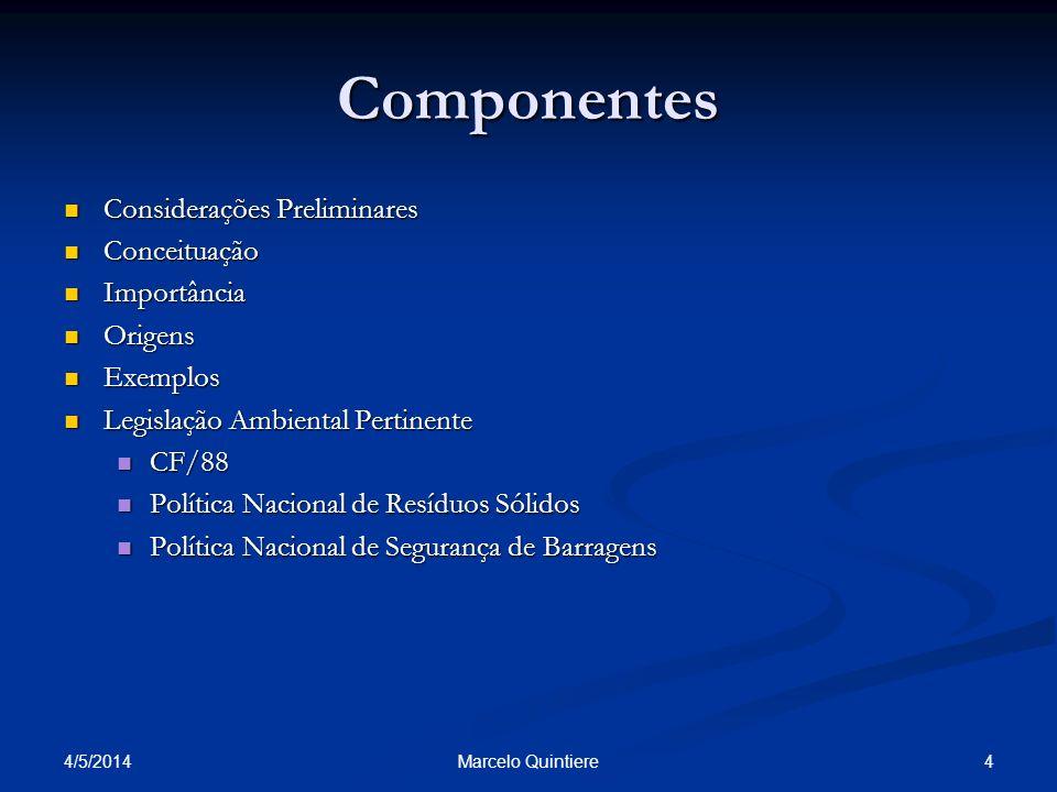 Componentes Considerações Preliminares Conceituação Importância