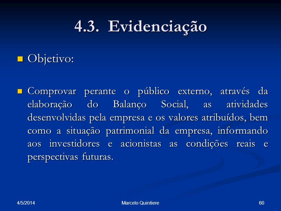 4.3. Evidenciação Objetivo: