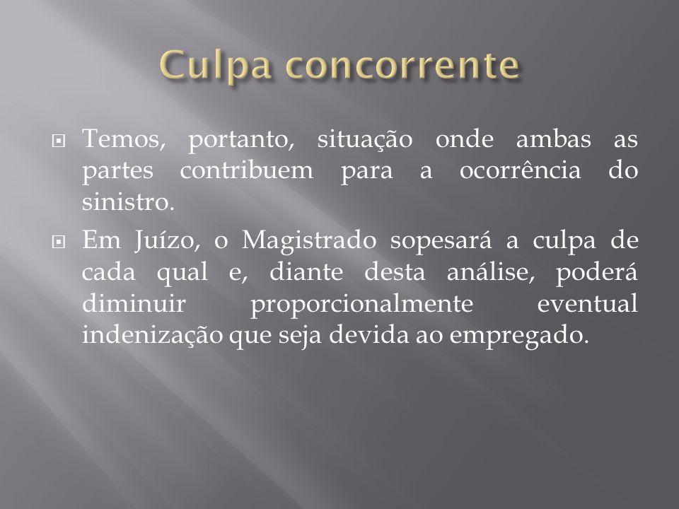 Culpa concorrente Temos, portanto, situação onde ambas as partes contribuem para a ocorrência do sinistro.