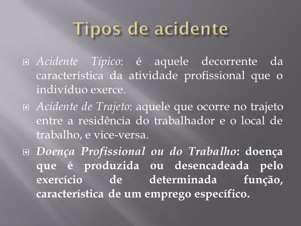 Tipos de acidente Acidente Típico: é aquele decorrente da característica da atividade profissional que o indivíduo exerce.