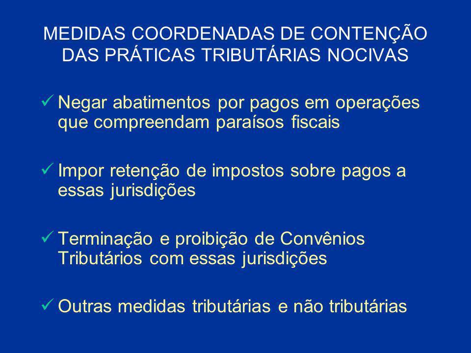 MEDIDAS COORDENADAS DE CONTENÇÃO DAS PRÁTICAS TRIBUTÁRIAS NOCIVAS