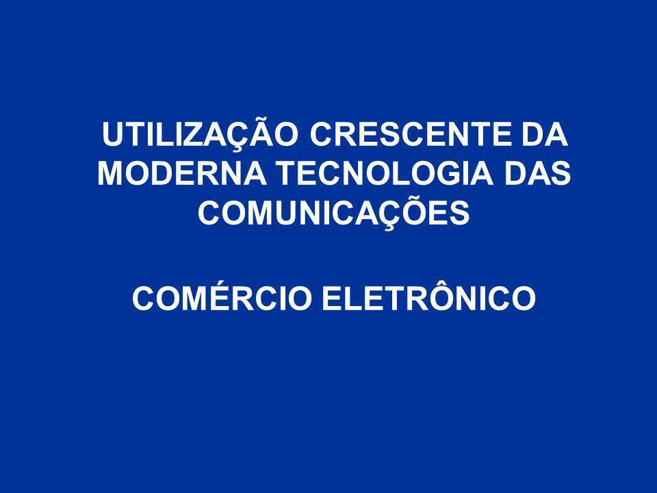 UTILIZAÇÃO CRESCENTE DA MODERNA TECNOLOGIA DAS COMUNICAÇÕES COMÉRCIO ELETRÔNICO