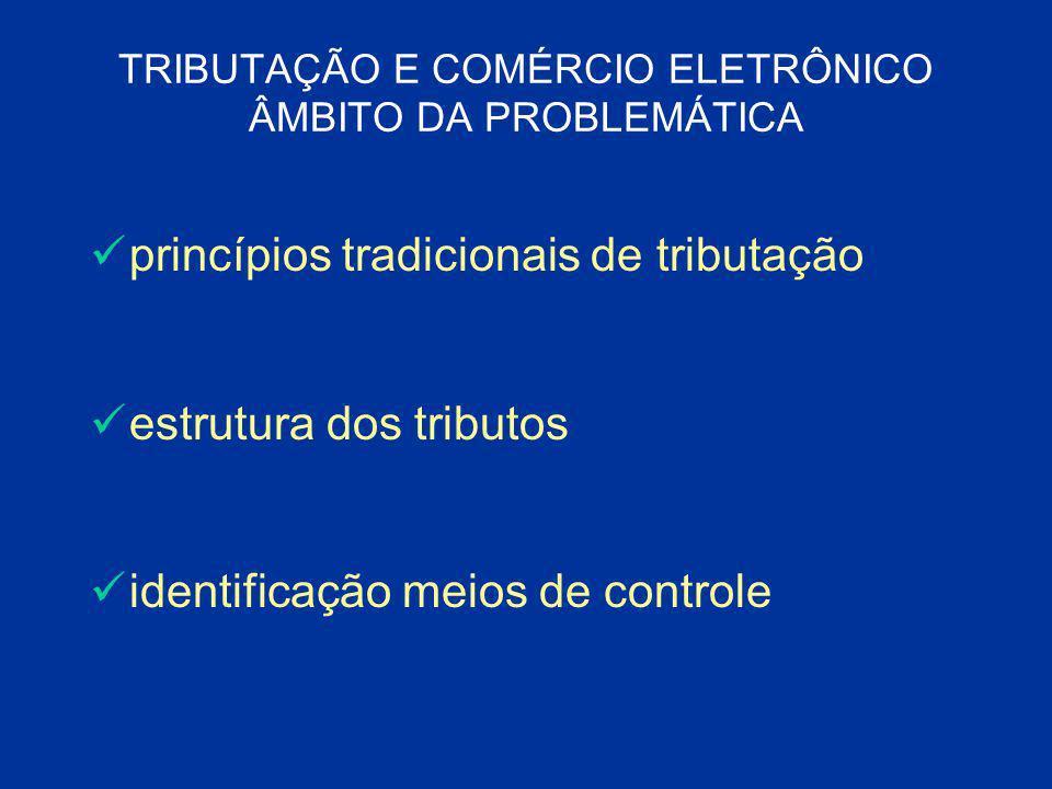 TRIBUTAÇÃO E COMÉRCIO ELETRÔNICO ÂMBITO DA PROBLEMÁTICA