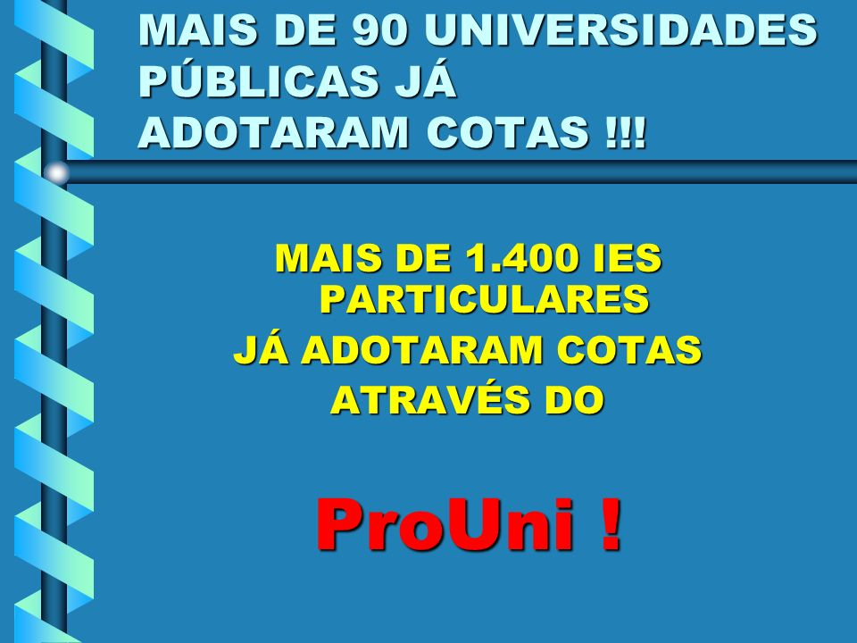 MAIS DE 90 UNIVERSIDADES PÚBLICAS JÁ ADOTARAM COTAS !!!
