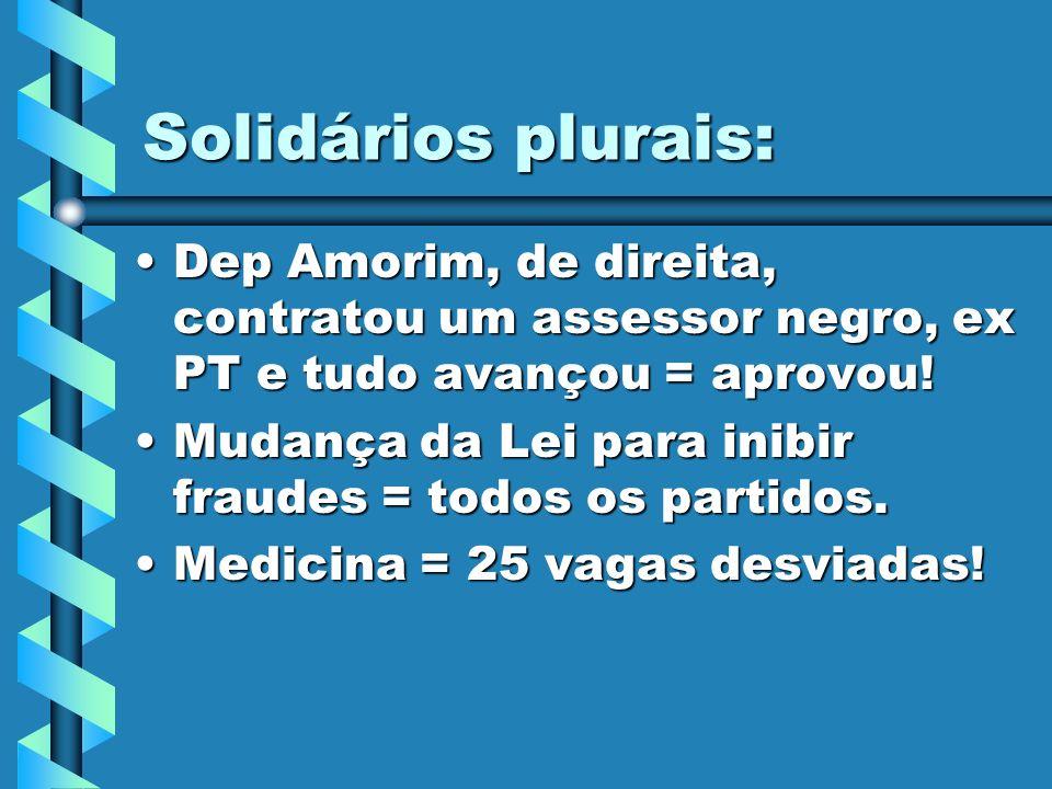 Solidários plurais: Dep Amorim, de direita, contratou um assessor negro, ex PT e tudo avançou = aprovou!