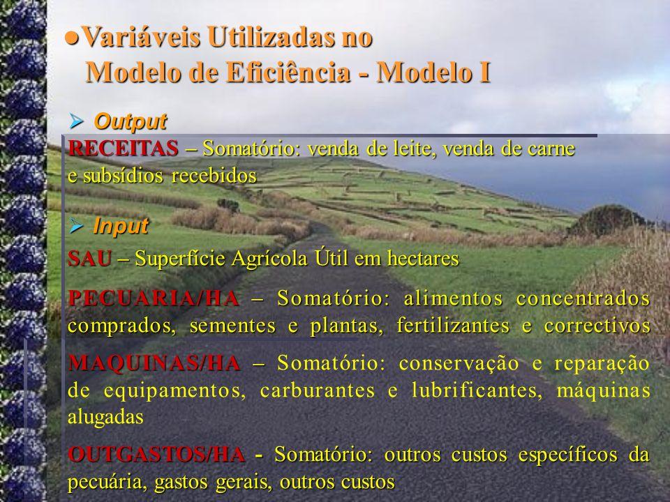 Variáveis Utilizadas no Modelo de Eficiência - Modelo I