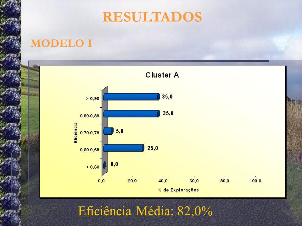 RESULTADOS MODELO I Eficiência Média: 82,0%