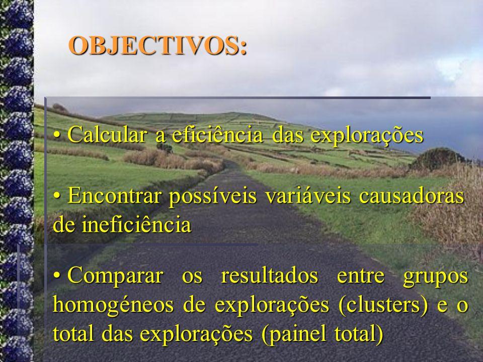 OBJECTIVOS: Calcular a eficiência das explorações