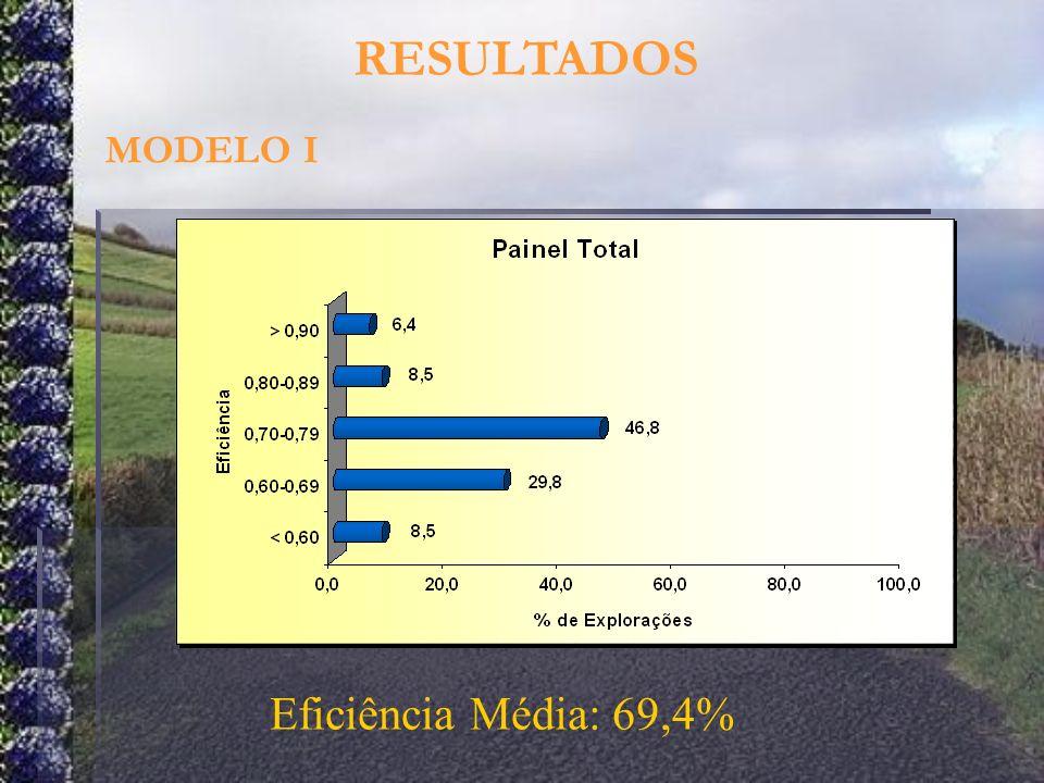 RESULTADOS MODELO I Eficiência Média: 69,4%