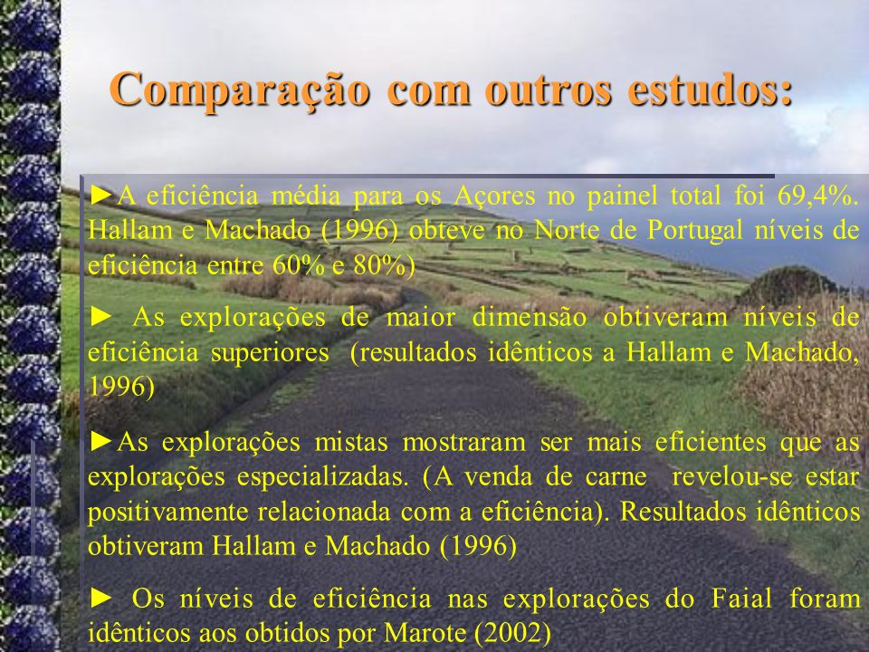 Comparação com outros estudos:
