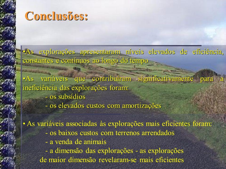 Conclusões: As explorações apresentaram níveis elevados de eficiência, constantes e contínuos ao longo do tempo.