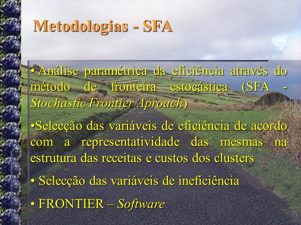 Metodologias - SFA Análise paramétrica da eficiência através do método de fronteira estocástica (SFA - Stochastic Frontier Aproach)