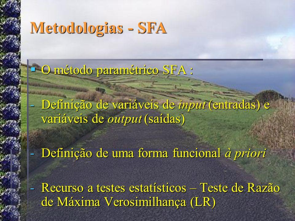 Metodologias - SFA O método paramétrico SFA :