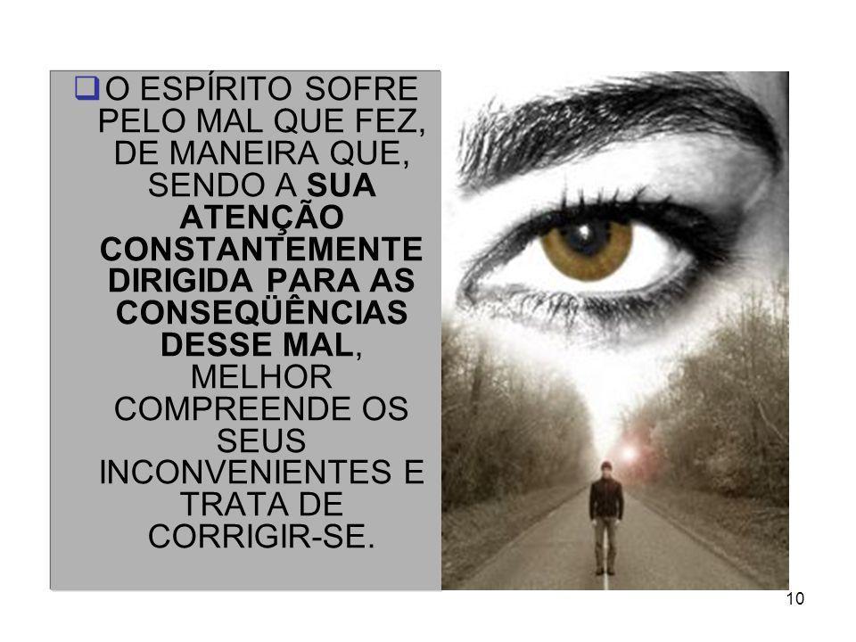 O ESPÍRITO SOFRE PELO MAL QUE FEZ, DE MANEIRA QUE, SENDO A SUA ATENÇÃO CONSTANTEMENTE DIRIGIDA PARA AS CONSEQÜÊNCIAS DESSE MAL, MELHOR COMPREENDE OS SEUS INCONVENIENTES E TRATA DE CORRIGIR-SE.