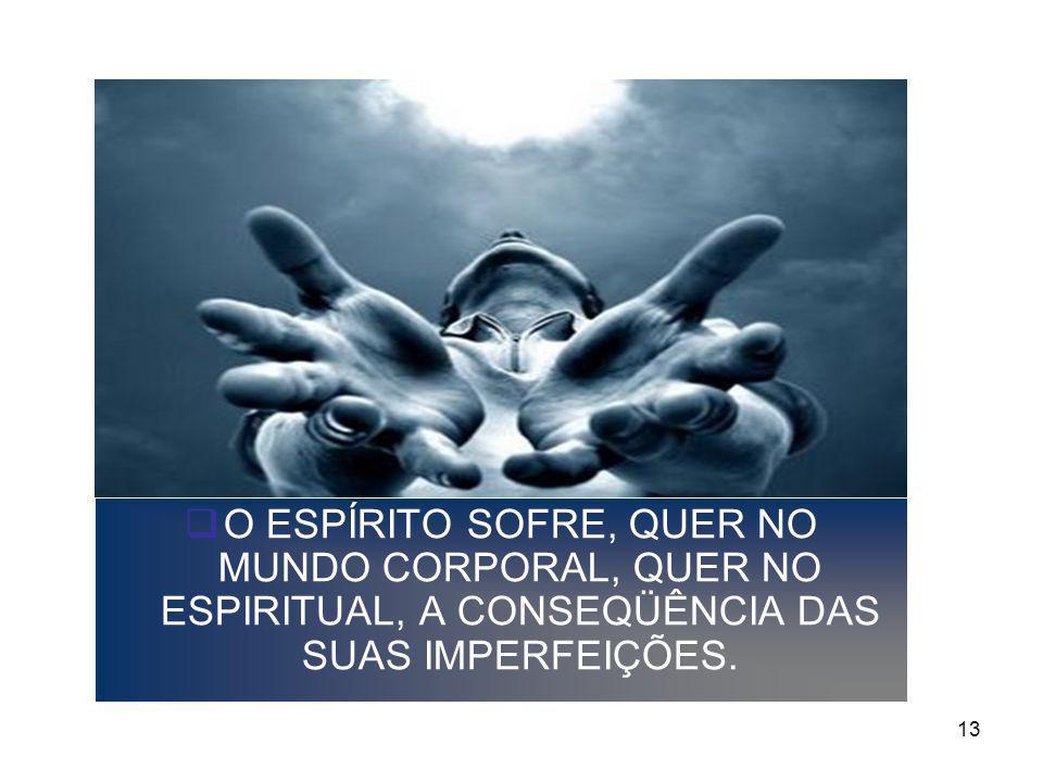 O ESPÍRITO SOFRE, QUER NO MUNDO CORPORAL, QUER NO ESPIRITUAL, A CONSEQÜÊNCIA DAS SUAS IMPERFEIÇÕES.