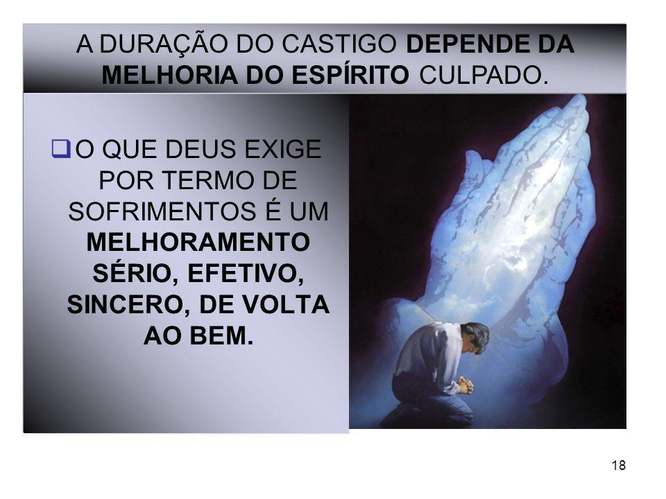 A DURAÇÃO DO CASTIGO DEPENDE DA MELHORIA DO ESPÍRITO CULPADO.