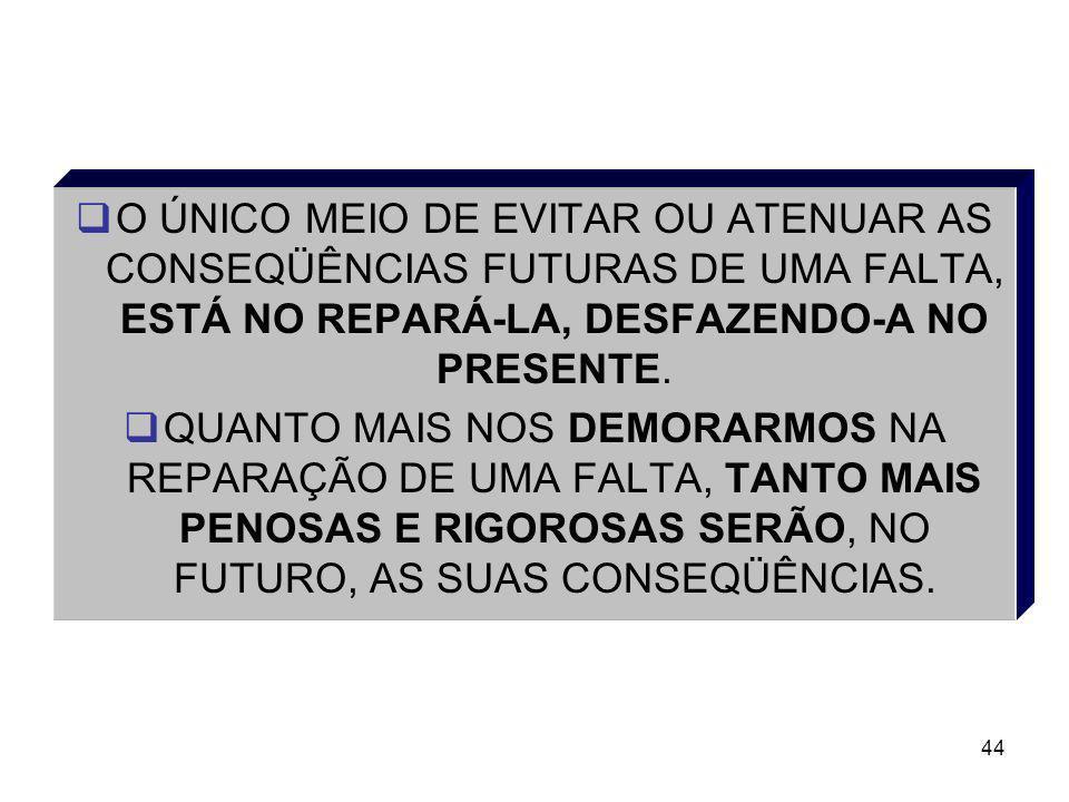 O ÚNICO MEIO DE EVITAR OU ATENUAR AS CONSEQÜÊNCIAS FUTURAS DE UMA FALTA, ESTÁ NO REPARÁ-LA, DESFAZENDO-A NO PRESENTE.