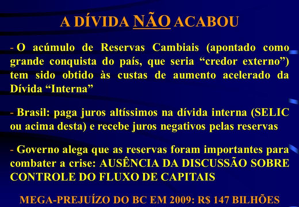 MEGA-PREJUÍZO DO BC EM 2009: R$ 147 BILHÕES