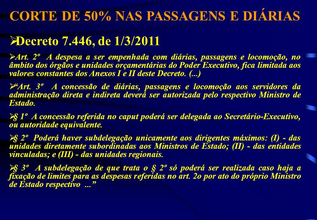 CORTE DE 50% NAS PASSAGENS E DIÁRIAS