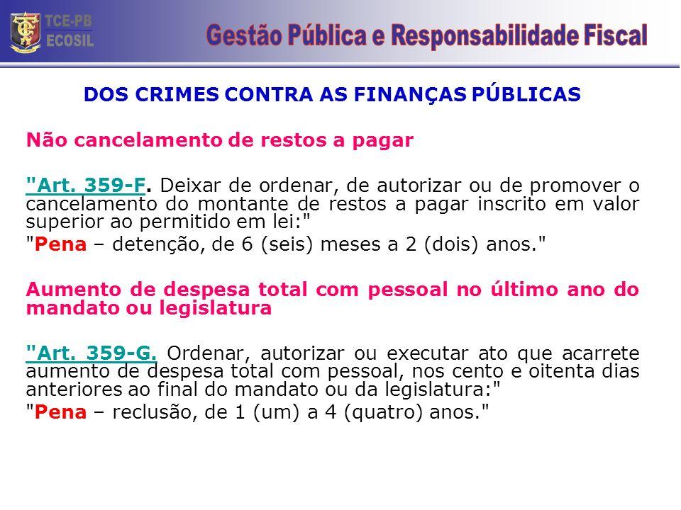 DOS CRIMES CONTRA AS FINANÇAS PÚBLICAS
