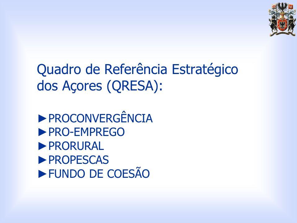 Quadro de Referência Estratégico dos Açores (QRESA): ►PROCONVERGÊNCIA ►PRO-EMPREGO ►PRORURAL ►PROPESCAS ►FUNDO DE COESÃO