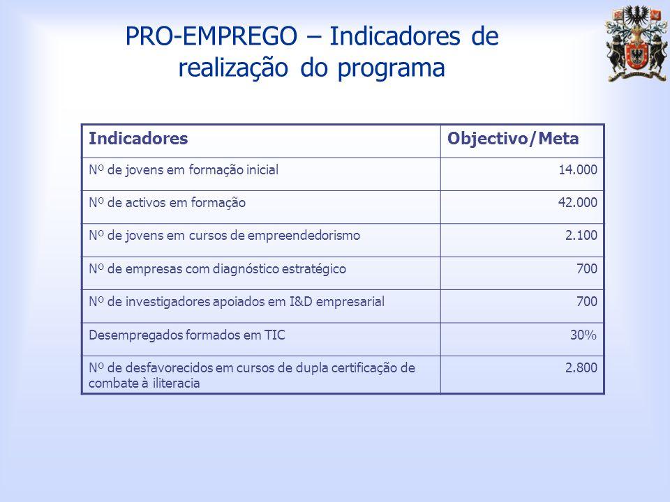 PRO-EMPREGO – Indicadores de realização do programa