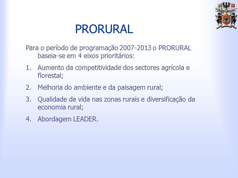 PRORURAL Para o período de programação 2007-2013 o PRORURAL baseia-se em 4 eixos prioritários: