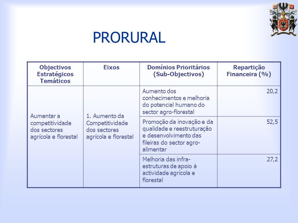 PRORURAL Objectivos Estratégicos Temáticos Eixos