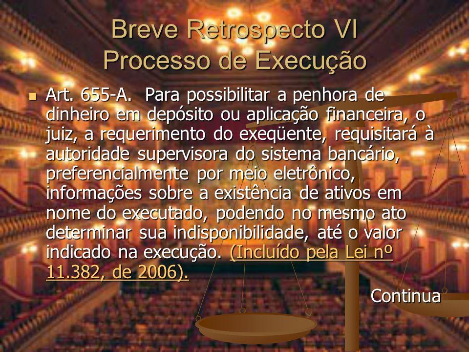 Breve Retrospecto VI Processo de Execução