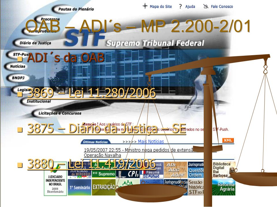 OAB – ADI´s – MP 2.200-2/01 ADI´s da OAB 3869 – Lei 11.280/2006