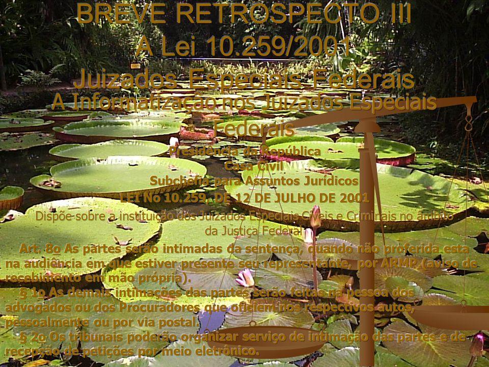 BREVE RETROSPECTO III A Lei 10.259/2001 Juizados Especiais Federais