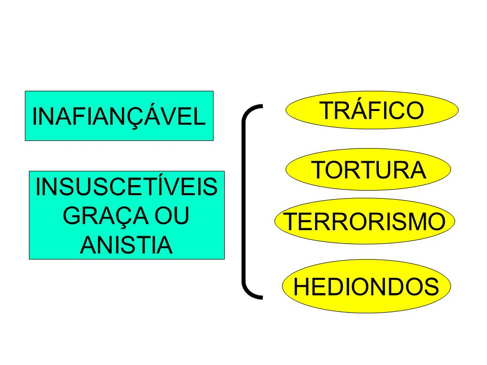 INAFIANÇÁVEL TRÁFICO TORTURA INSUSCETÍVEIS GRAÇA OU ANISTIA TERRORISMO HEDIONDOS