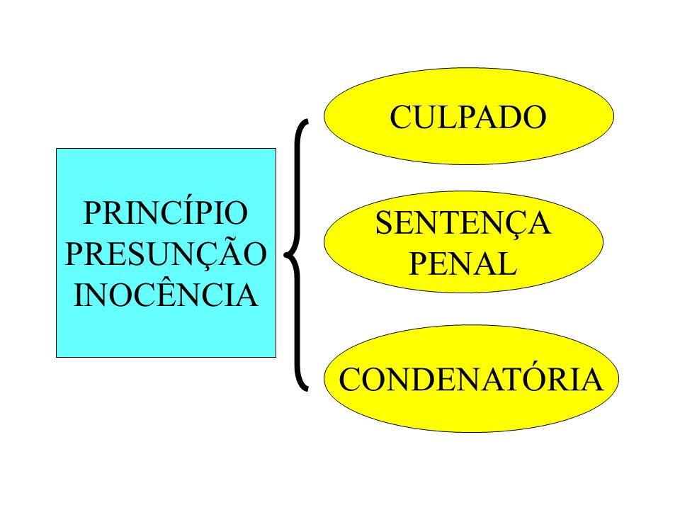 CULPADO PRINCÍPIO PRESUNÇÃO INOCÊNCIA SENTENÇA PENAL CONDENATÓRIA