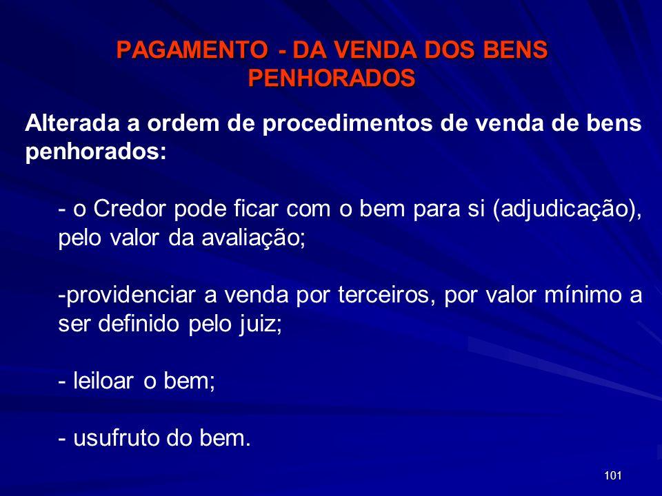 PAGAMENTO - DA VENDA DOS BENS PENHORADOS