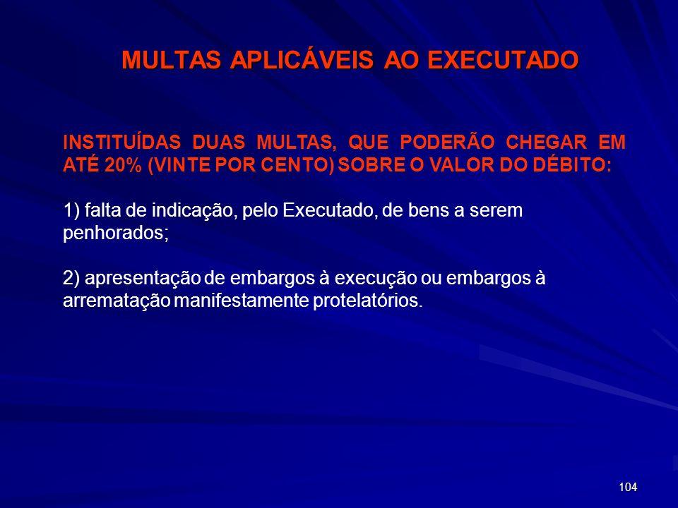 MULTAS APLICÁVEIS AO EXECUTADO